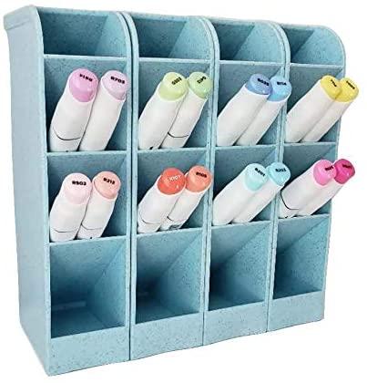 4 Pcs Wheat Straw Desk Organizer, Pen Organizer Storage for Office, School, Home Supplies, Wheat Straw & Blue Pen/Marker/Paint Brush Storage Holder, Set of 4, 16 Compartments (Blue)