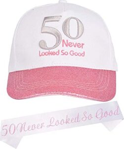 50th Birthday Gifts for Women, 50th Birthday Sash and Hat for Women, 50th Birthday Decorations for Women, 50 Birthday Party Baseball Cap and Sash, 50th Birthday