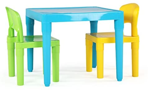Humble Crew, Aqua/Green&Yellow Kids Table and 2 Chairs Set, Toddler