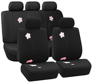 FH Group Universal Fit Full Set Floral Embroidery Design Car Seat Cover, (Black) (FH-FB053115, Airbag compatible and Split Bench, Fit Most Car, Truck, Suv, or Van)