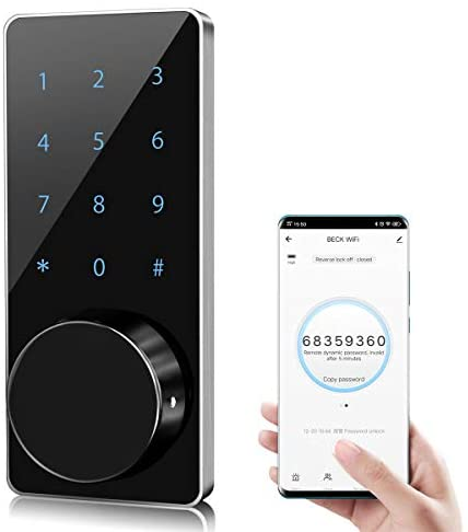 Door Lock WiFi,Smart Lock,Smart Electronic Door Lock with keyless,Touchscreen,Mechanical Keys Enabled Auto Lock Alarm Technology for Home,Hotel,Apartment and Office