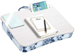 LapGear Designer Lap Desk with Phone Holder and Device Ledge – Blue Blossoms – Fits up to 15.6 Inch Laptops – Style No. 45433