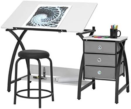 SD Studio Designs 13326 Comet Center with Stool, Black/White, 50″ W x 23.75″ D x 29.5″ H