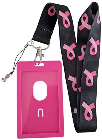 Breast Cancer Awareness Lanyard ID Badge Holder for School or Work (Black w/Pink)