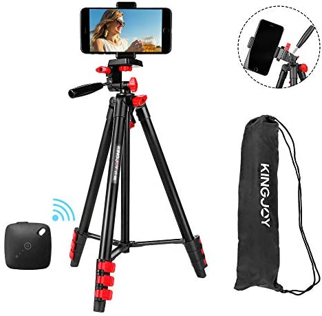 """KINGJOY Phone Tripod, 2020 Upgrade Liftable 51.5"""" Lightweight Travel/Video/Camera Tripod with Rocker for Selfies, Group Photos, Vlog, YouTube Videos, Podcasts, FaceTime, Instagram, Live Streaming"""
