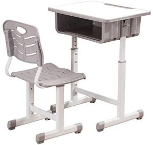 A/Y Kids Desk and Chair Set, Height Adjustable Children Study Table with Backrest Chair with Large Space Storage Drawer, Pen Groove, Hook for Boys Girls 3-14 Years Old (Grey)