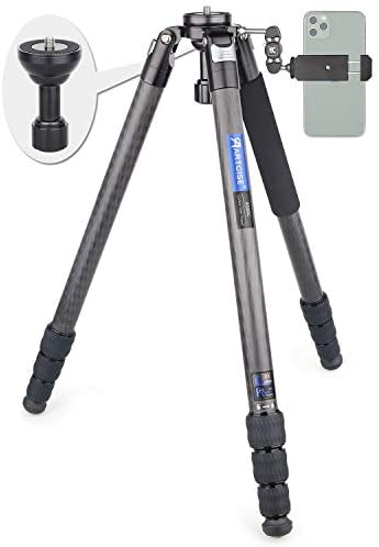 Carbon Fiber Bowl Tripod, AS80C Heavy Duty Camera Tripod Ultra Stable & Lightweight Professional Camera Travel Tripod,Max Load 44lbs/20kg,65mm Bowl Adapter as a Gift(RT80C Upgraded)