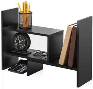 FITUEYES Wood Adjustable Display Shelf Desktop Organizer Office Storage Rack Corner Bookcase DT306801WB