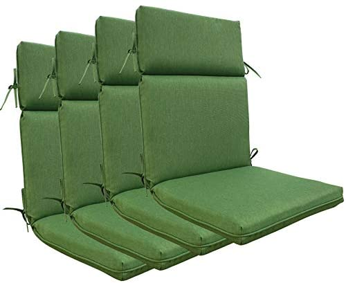 BOSSIMA Indoor Outdoor High Back Chair Cushions Replacement Patio Chair Seat Cushions Set of 4 (Olefin Deep Green)