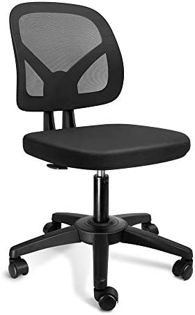 KOLLIEE Armless Mesh Office Chair Ergonomic Comfortable Armless Desk Chair Small Black Adjustable Computer Chair No Armrest Mid Back Swivel Task Chair for Small Spaces