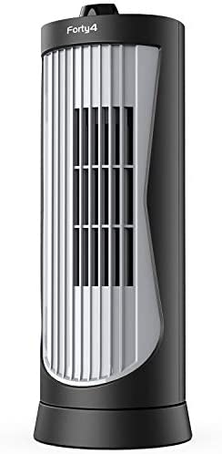 Small Oscillating Tower Fan, Portable Electric Desk Fan, Quiet Personal Cooling Fan, 13 Inch, Ultra-Slim, 2 Settings, Rotating Standing Fan Perfect for bedside Office Home Tabletop