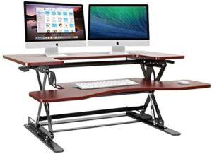 Halter Cherry Height Adjustable 36 Inches Stand Up Desk Pre-Assembled Sit or Stand Desk Elevating Desktop ED-258