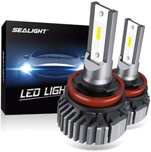 SEALIGHT H11 H8 H9 LED Headlight Bulbs, Fanless 6000K White, Easy Installation, Low Beam H16 LED Fog Lights, Halogen Replacement, CSP Chips