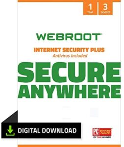 Webroot Internet Security Plus with Antivirus Protection Software   3 Device   1 Year Subscription   PC Download