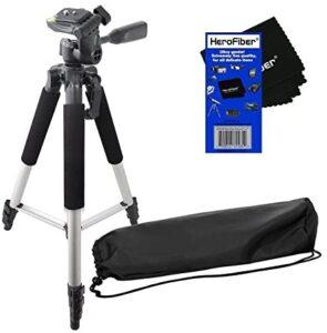 HeroFiber 57″ Pro Series Lightweight Photo/Video Tripod & Carrying Case for Nikon D3000, D3100, D3200, D5000, D5100, D5200, D5300 Digital SLR Cameras w Ultra Gentle Cleaning Cloth