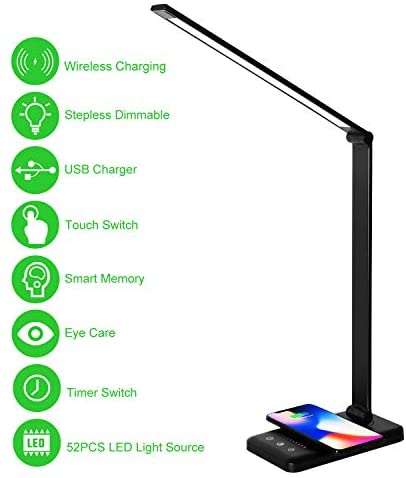 LED Desk Lamp with Wireless Charger,Eye-Caring Table Lamps,Stepless Dimmable Office Lamp with USB Charging Port,Touch/Memory/Timer Function,25 Brightness Lighting,Foldable Lamp,Himigo