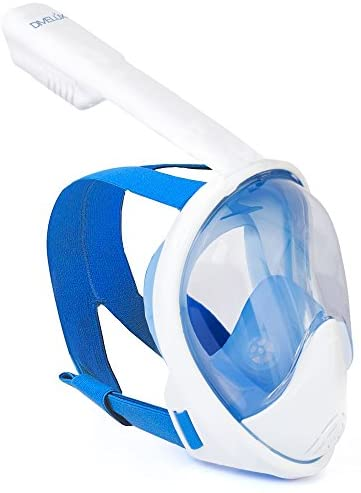 DIVELUX Snorkel Mask – Original Full Face Snorkeling and Diving Mask with 180° Panoramic Viewing – Longer Ventilation Pipe, Watertight, Anti Fog & Anti Leak Technology, S/M, L/XL, XS