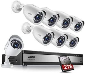 ZOSI H.265+ 1080p 16 Channel Security Camera System, 16 Channel DVR with Hard Drive 2TB and 8 x 1080p Weatherproof Surveillance CCTV Bullet Camera Outdoor Indoor, 80ft Night Vision, 90° View Angle