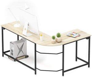 Teraves Modern L-Shaped Desk Corner Computer Desk Home Office Study Workstation Wood & Steel PC Laptop Gaming Table
