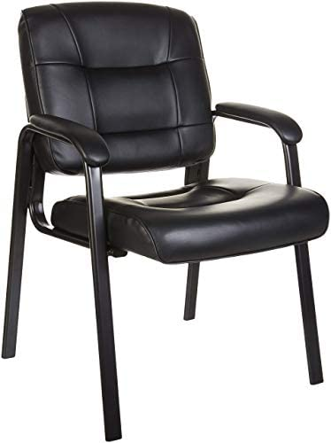 AmazonBasics Classic Leather Office Desk Guest Chair with Metal Frame, Black
