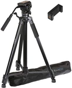 Ravelli AVTH 72″ Light Weight Aluminum Video Tripod with Bag Includes Universal Smartphone Mount
