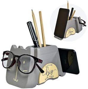 "I'm Wood Multipurpose Eyeglass Phone Pen & Cat Pencil Holder Stand Stationery Desk Organizer Accessories Decor, for Home Office Desktop Decoration Birthday Graduation Gifts ""Dream Big Aim High"" (Cat)"