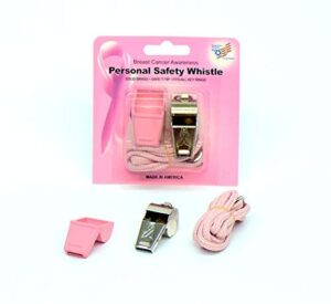 American Whistle Corporation Personal Safety Whistles – Pink Ribbon Breast Cancer Awareness Emergency Safety Whistles With Lanyards Pack of 3 – Durable Brass 3 Whistles – Rubber Safe-T-Tips Included