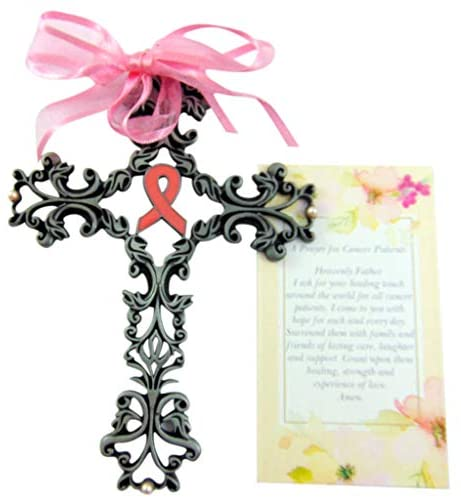 Westmon Works Pink Ribbon Breast Cancer Awareness Wall Cross with Prayer Card