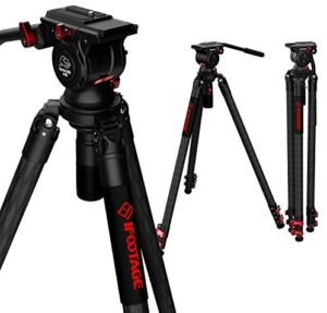 """IFOOTAGE Tripod, 61"""" Carbon Fiber Video Camera Tripod with Fluid Drag Pan Head, Quick Fastbowl Design, Max Load 19.8 lbs, Compatible with Canon, Nikon, Sony DSLR Camcorders"""