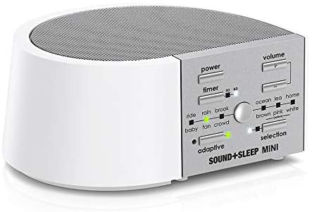 Adaptive Sound Technologies Sound+Sleep Mini High Fidelity Sleep Sound Machine with AC and Battery Power, Real Nature Sounds, Fan Sounds, Noise and Adaptive Sound Technology, White/Silver