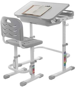 Sallymonday Kids Desk and Chair Set, Height Adjustable Children Study Table with MDF Tiltable Anti-Reflective Tabletop, Pull-Out Drawer Storage for 3-15 Years Old Kids, School Students (Grey)
