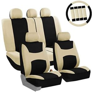 FH Group FB030BEIGEBLACK115-COMBO Seat Cover Combo Set with Steering Wheel Cover and Seat Belt Pad (Airbag Compatible and Split Bench Beige/Black)