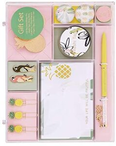 Pineapple Stationery Set Paper Clips Sticky Note Pads Ballpoint Pen Badge Office School Desk Accessories Kit Inspirational Stationery Gift for Women Students, Gold Pink