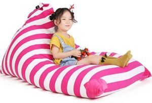 Stuffed Animal Bean Bag Chair for Kids and Adults. Premium Canvas Stuffed Seat – Cover ONLY(White/Pink Stripe 200L/52 Gal)