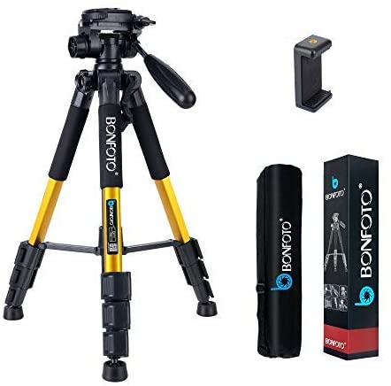 """BONFOTO 55"""" Compact Light Weight Travel Portable Aluminum Camera iPhone & Android Phone Tripod for Canon Nikon Sony DSLR Camera with Carry Case 11 lb Load(Yellow)"""