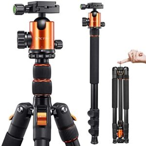 VICTIV Camera Tripod 81 inches Monopod, Aluminum Travel Tripod for DSLR, Lightweight Tripod Loads up to 19 lbs with 360 Degree Ball Head and Carry Bag for Travel and Work – AT26 Orange