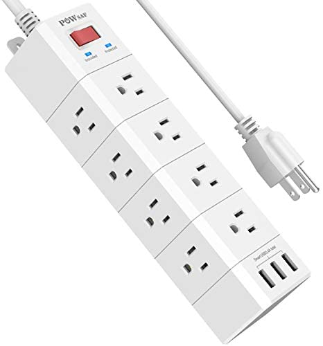 Surge Protector, POWSAF Power Strip with 12-Outlet(3-Sided) and 3 USB Ports(5V/3.4A, 17W), 6-Ft(1875W/15A) Heavy Duty Extension Cord, ETL Listed, White