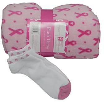 GKG Plush Breast Cancer Pink Ribbon Throw Blanket and Pink Ribbon Socks