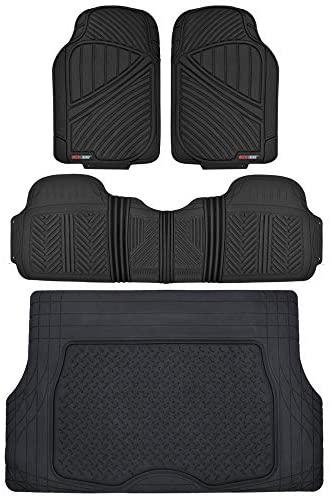 Motor Trend Flextough Rubber Car Floor Mats & Cargo Trunk Mat Set Black Heavy Duty – Odorless, Extreme Duty (Black) – MT-773-884-BK
