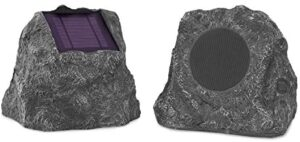 Innovative Technology Outdoor Rock Speaker Pair – Wireless Bluetooth Speakers for Garden, Patio, Waterproof, Built for all Seasons & Solar Powered with Rechargeable Battery, Music Streaming – Charcoal