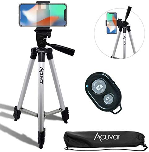 Acuvar 50″ Inch Aluminum Camera Tripod with Universal Smartphone Mount + Wireless Remote Control Camera Shutter for iPhone 11 Pro Max, 11 Pro, Xs, Xr, X, SE 2 Pixel 3, Android S20 S10 Note 10 & More
