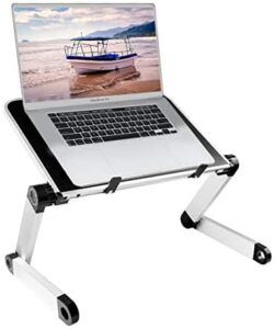 Adjustable Laptop Stand for Desk, Aluminum Laptop Desk Laptop Table, Protable Laptop Raiser Book Stand with Cooling Fan for 10-15.6 inch Devices, Compatible Notebook MacBook Air Pro XPS iPad(Black)