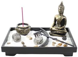 We pay your sales tax Tabletop Buddha Zen Garden Rock Sand Candle Holder Home/Office Decor Perfect Relaxing Gift Idea (Rock G16232)