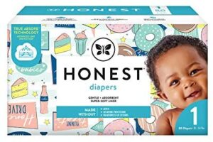 The Honest Company Club Box Diapers with Trueabsorb Technology, Donut Grow Up & Honest Drive-in, Size 1, 80 Count