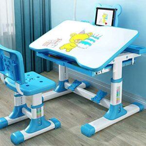 SDKLJ Children's Height Adjustable Combined Study Desk & Chair Set Tilt Desktop Plastic Work Table with LED Light, Drawe, Bookstand(Length 80cm, Blue)
