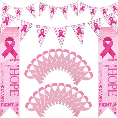20 Pieces Breast Cancer Awareness Banner and 50 Pieces Pink Paper Ribbon Cutouts, Breast Cancer Hanging Banner Breast Cancer Wall Pennants for Party Favors Decorations