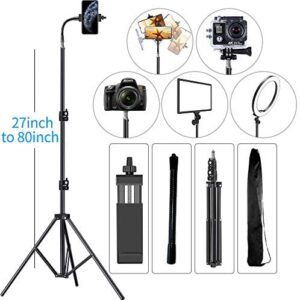 Cell Phone Tripod 27″ to 80″ Adjustable Phone Video Stand for iPhone & Camera Video Recording Vlogging/Streaming/Photography Rotatable Live Video Stand Compatible with and Most Mobile Phones