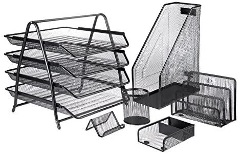 Mesh Office Desk Accessories Organizer Set – 6 Pieces