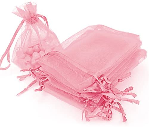 AKStore 100PCS 4×6″ (10x15cm) Drawstring Organza Jewelry Favor Pouches Wedding Party Festival Gift Bags Candy Bags (Pink)