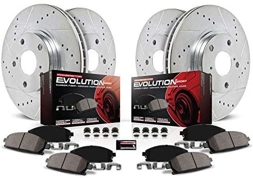 Power Stop K6504 Front & Rear Brake Kit with Drilled/Slotted Brake Rotors and Z23 Evolution Ceramic Brake Pads